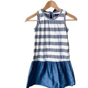 Gap Kids Preppy Stripped w/Denim Skirt Dress